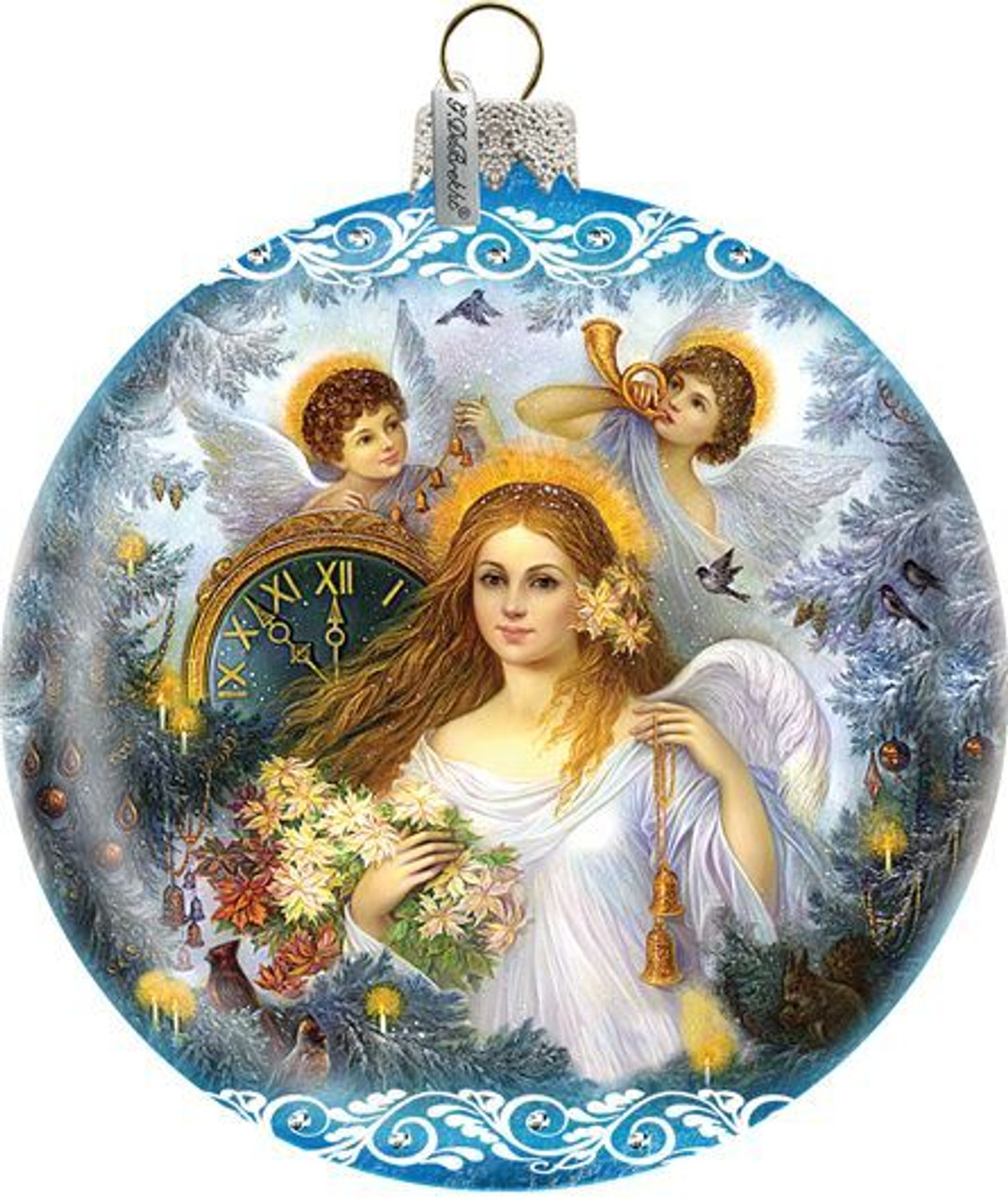Vintage Style Christmas Ornaments.Time Angel Christmas Ornament Vintage Style Art Hand Painted Glass 5 1 2