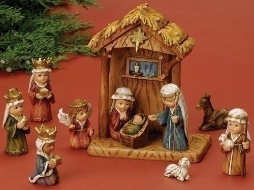 premium selection f4e72 a7569 SOLD OUT - 10 Piece Children's Nativity Set | Round-Faced Figures | Stable  | 8