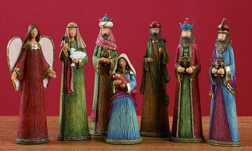 7 Piece Contemporary Nativity Set Elongated Figures Bright Colors 6 Trix4936