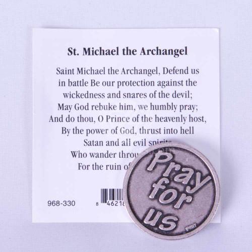 Saint Michael Pocket Token & Holy Card | In Plastic Sleeve | 968330