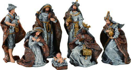 7 Piece Contemporary Nativity Set Metallic Burlap Look 5 1 2 Trix8234