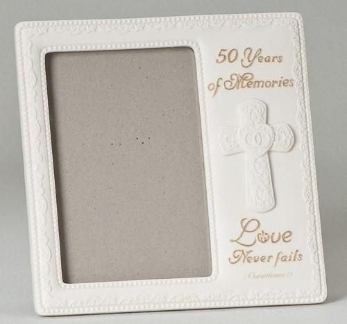 Love Never Fails Frame 50th Wedding Anniversary 4x6 Photo
