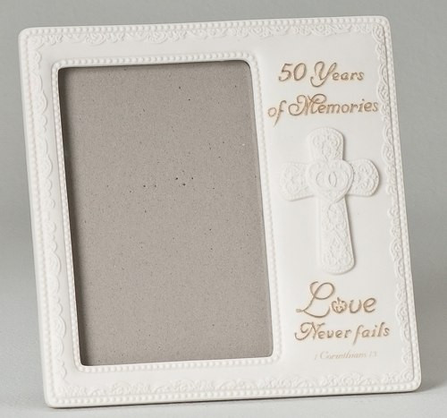 Love Never Fails Frame 50th Wedding Anniversary 4x6 Photo