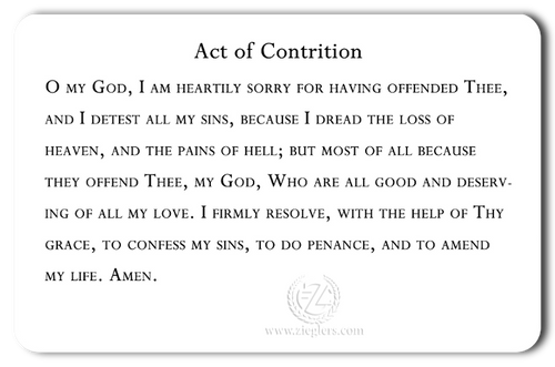 picture about Act of Contrition Prayer Printable identified as Catholic Identity Card Mary Little one Act of Contrition Wallet Measurement