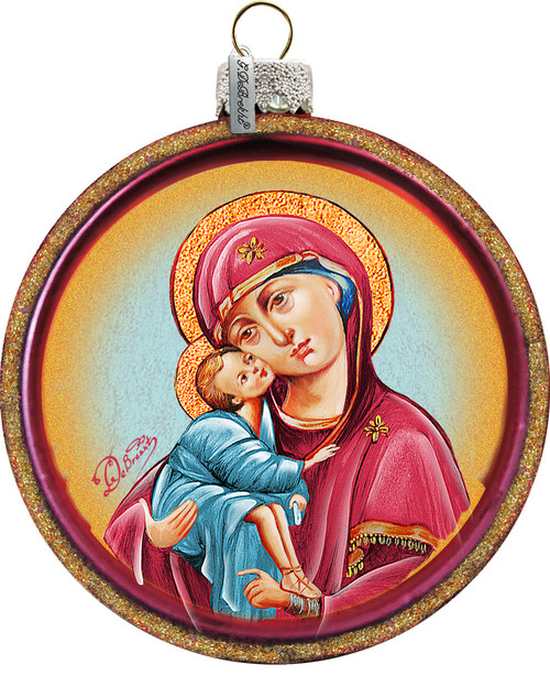 Mother Of God Christmas Ornament Hand Painted Red Glass 3 1 4 F C Ziegler Company
