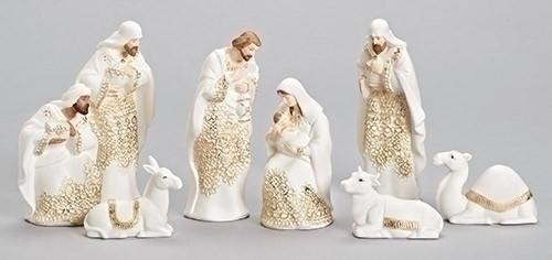 8 Piece Contemporary Nativity Set Porcelain Gold Accents 7