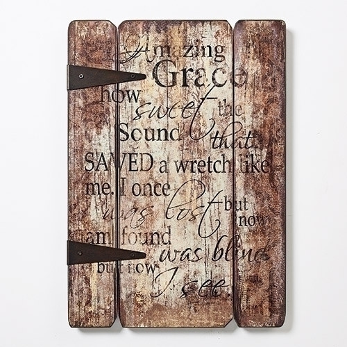 Amazing Grace Wall Plaque | 3 Wood Panels | 17