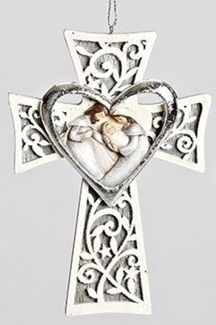 Holy Family Christmas Ornament Cross Heart Laser Cut Resin 5 1 8 X 3 3 4