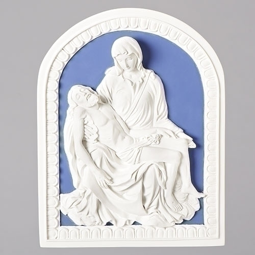 Crucifixion Triptych Ivory With Deep Blue 7 x 14 Resin Stone Tabletop Figurine