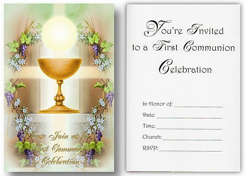 Blessed Sacrament Grapes First Communion Invitation 3 1 4 X 5