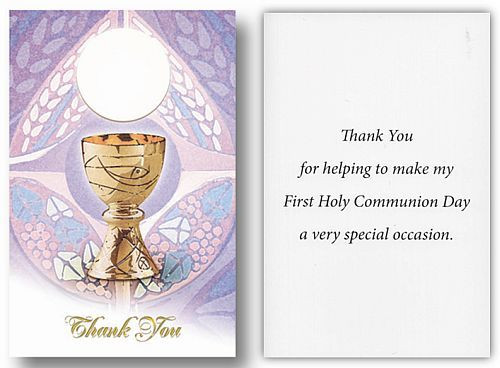 Blessed Sacrament First Communion Thank You Note 3 1 4 X 5 8