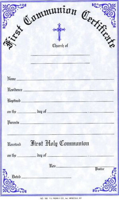 first communion certificate - style  180