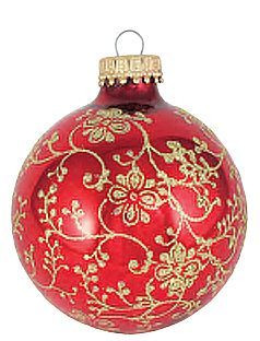 Floral Christmas Ornament Red With Gold Glitter 2 5 8 Set Of 4 F C Ziegler Company