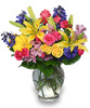Georgia Avenue Gem is delivered without contact and showcases gerber daisies, yellow roses, delphinium, hot pink mini carnations, pink spray roses, pink alstroemeria and foliage in a ginger vase in Rockville MD, Palace Florists