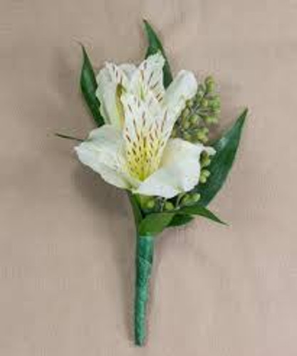 White Alstromeria Boutonniere in Rockville MD and Washington DC Palace Florists