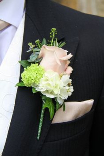 Rose and hydrangea boutonniere with greenery in Rockville MD and Washington DC, Palace Florists