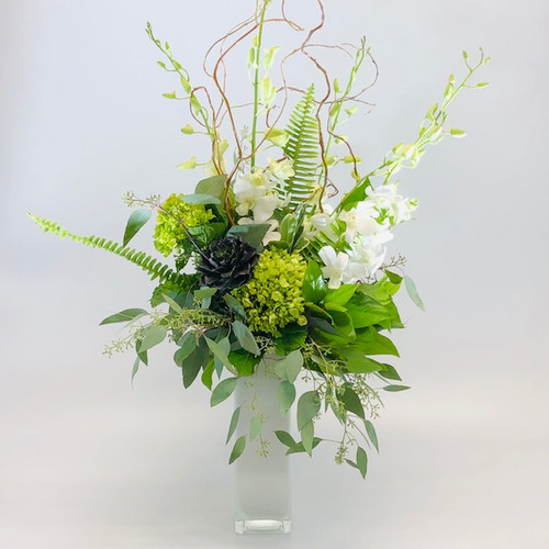Lush Whites showcases hydrangea, orchids, curly willow, a succulent and beautiful foliage in a tall white rectangular ceramic vase in Washington DC and Rockville MD, Palace Florists