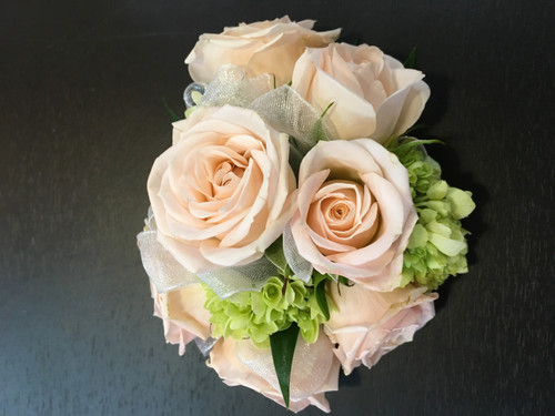 Passionate Peach Wrist Corsage in Rockville MD, Palace Florists