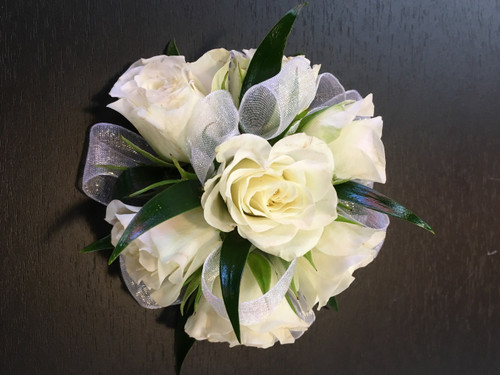 Simply White Wrist Corsage in Rockville MD, Palace Florists