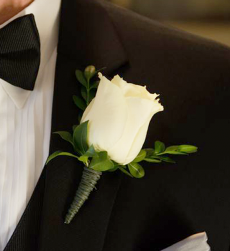 White Rose Boutonniere in Rockville MD, Palace Florists