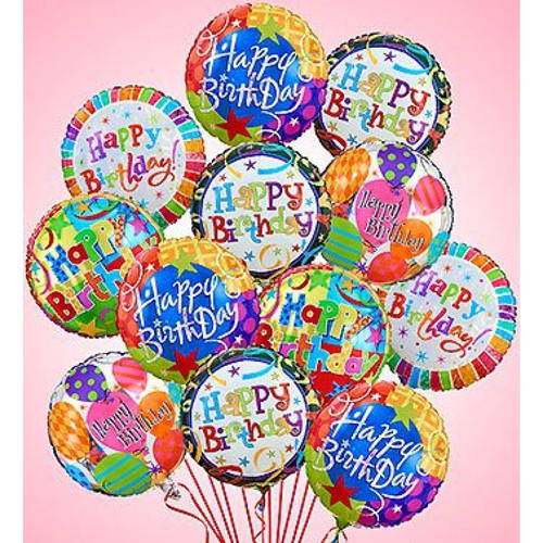 One dozen happy birthday mylar balloons in Rockville MD, Palace Florists