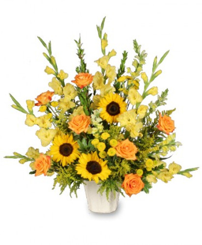 Golden Goodbye Sympathy Arrangement in Washington DC, Palace Florists