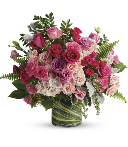 Haute Pink Bouquet showcases a  high-fashion fantasy of roses! When you want to make a grand statement, send this dreamy bouquet of posh pink roses and modern greens.