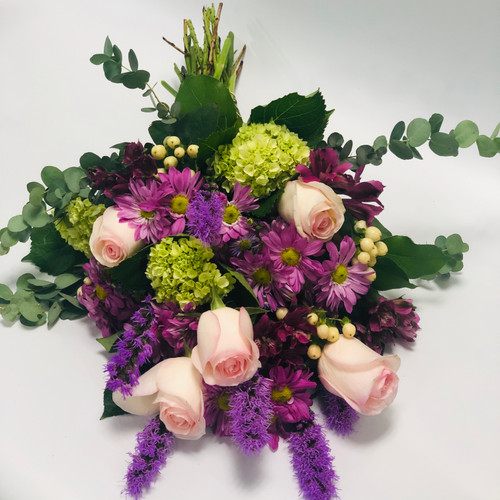 Raspberry Sherbet wrapped bouquet in Rockville MD, Palace Florists