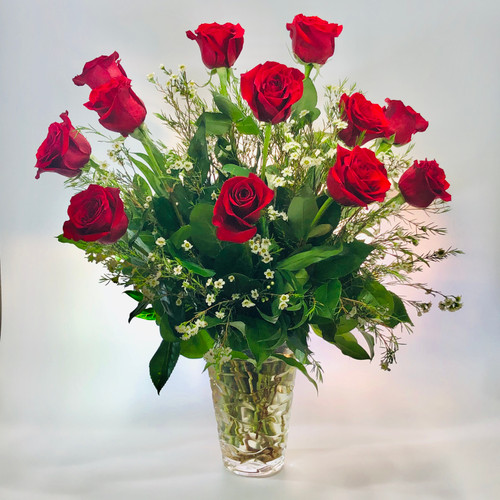 Romantic Roses in Keepsake Crystal vase in Rockville MD, Palace Florists