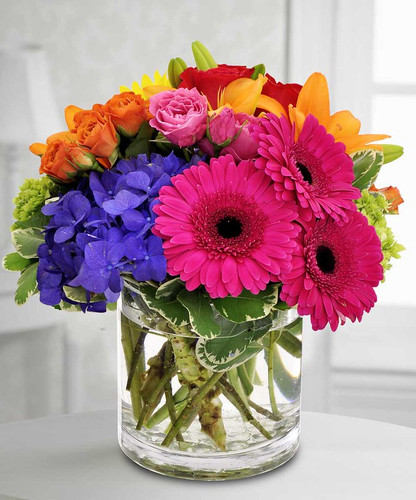 Kaleidoscope showcases a gorgeous variety of pinks, blues, oranges and green in Kensington MD, Palace Florists