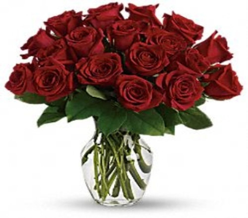 25 short stemmed gorgeous red roses tightly designed in a vase with foliage in Washington DC and Rockville MD, Palace Florists