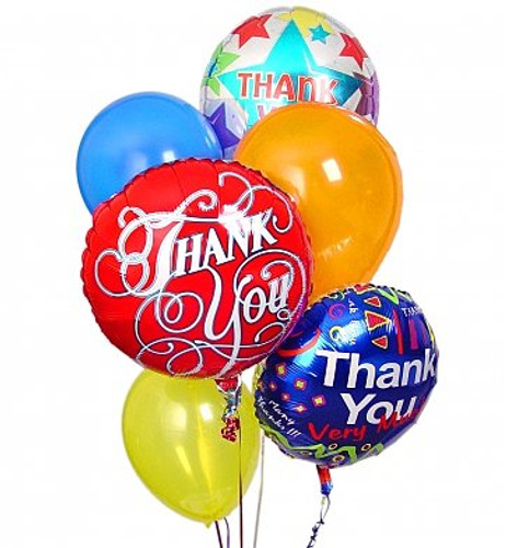 Thank you Balloon Bouquet with three thank you balloons and three latex balloons gathered together with a festive balloon weight in Washington DC and Rockville MD, Palace Florists