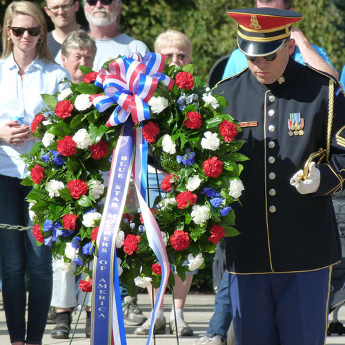 Custom Memorial Wreath of red, white and blue flowers with custom banner Washington DC, Palace Florists