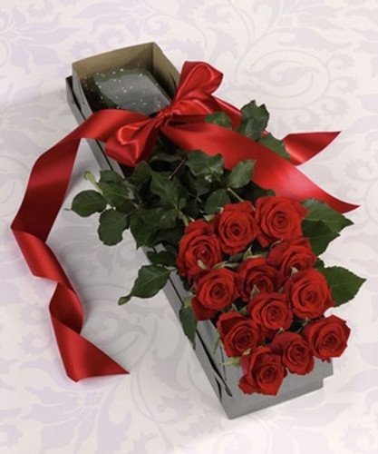One dozen royal roses with accent flowers and foilage in a box with a bow in Washington DC and Rockville MD, Palace Florists