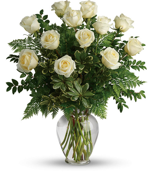 One Dozen Long Stemmed Premium Royal Roses in White in Rockville MD, Palace Florists