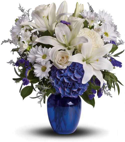 Beautiful in Blue with white lilies, white roses, daisies, astromeria, white chrysanthemums and blue hydrangea in cobalt blue vase in Rockville MD, Palace Florists