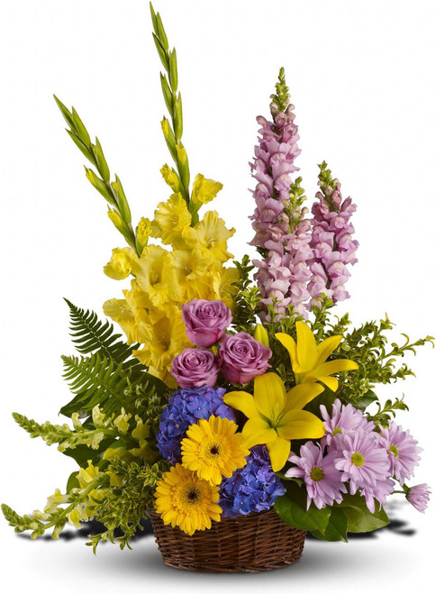 Love's tapestry with blue hydrangea, lavender roses, yellow asiatic lilies, yellow gerberas, yellow gladioli, yellow and lavender snapdragons, lavender daisies and greens such as salal, oregonia and sword fern in a basket In Rockville MD, Palace Florists