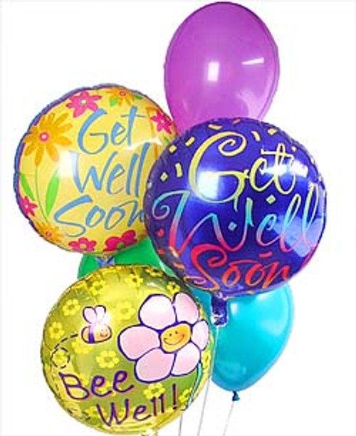 Get Well Soon Balloon Bouquet with three get well soon balloons and three latex balloons gathered together with a festive balloon weight in Washington DC and Rockville MD, Palace Florists