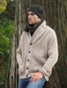 Merino Wool Ribbed Shawl Neck Oatmeal