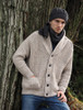Merino Wool Ribbed Shawl Neck Cardigan
