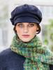 Ladies Tweed Newsboy Hat - Black