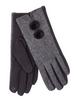 Ladies Double Pom Pom Gloves - Grey Herringbone