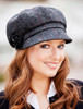 Ladies Tweed Newsboy Hat - Charcoal with Red