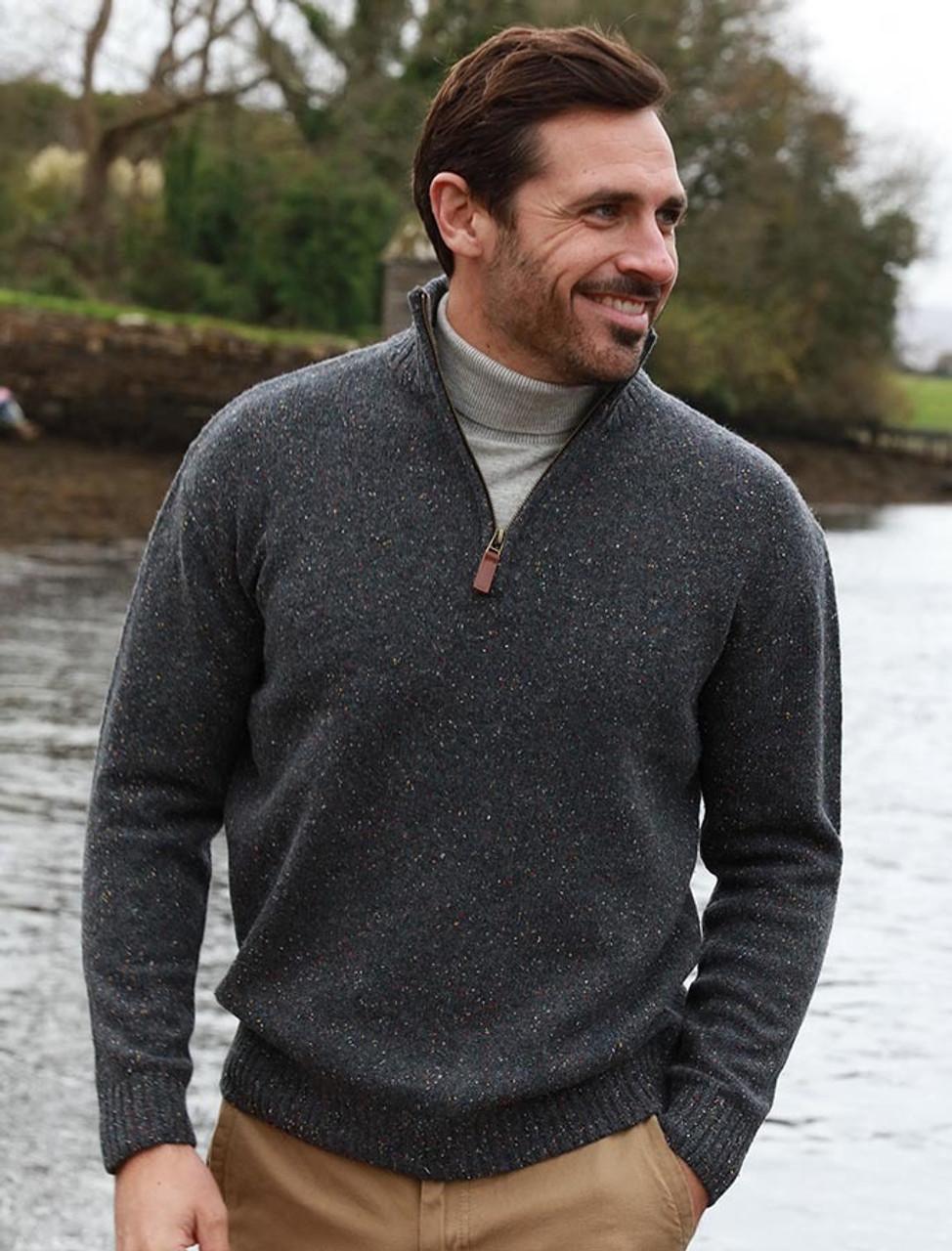 Aran Woollen Mills Lambswool//Nylon Mens Troyer Half Zip Sweater Graphite
