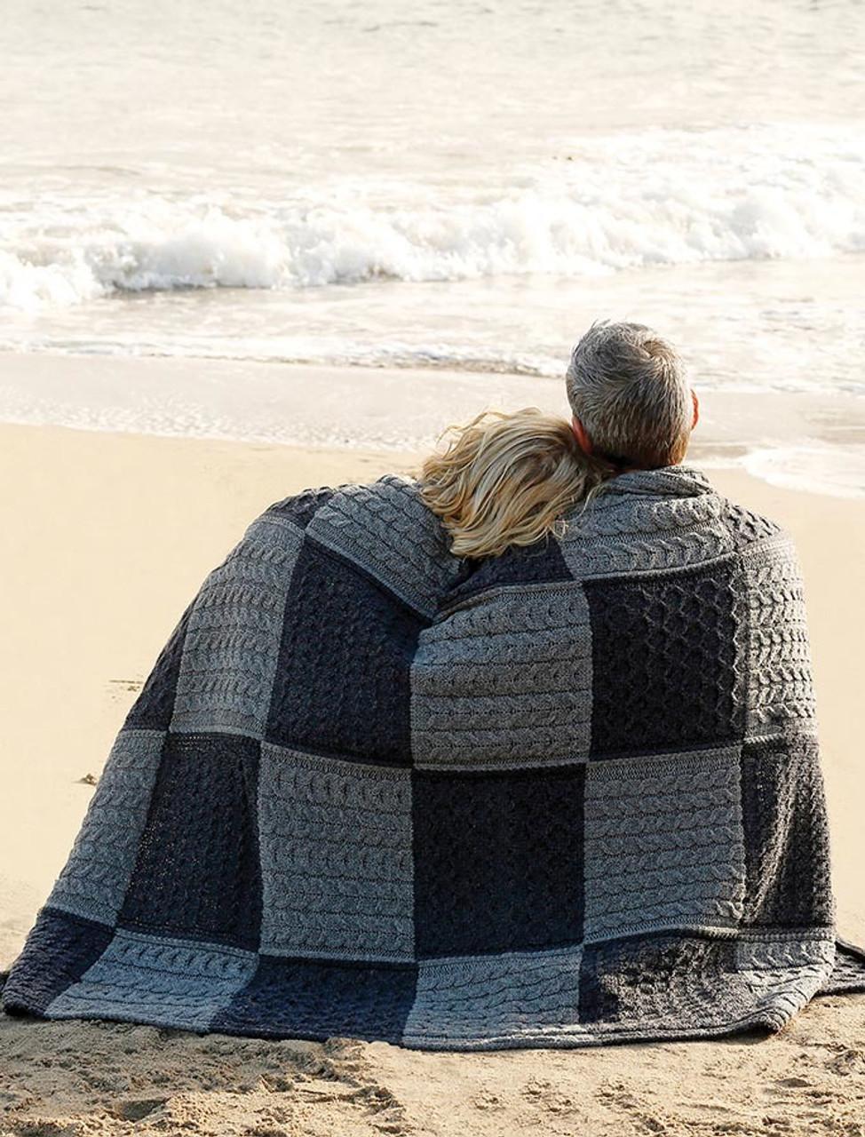 Aran Woollen Mills Patchwork Intarsia Merino Wool Irish Throw Blanket