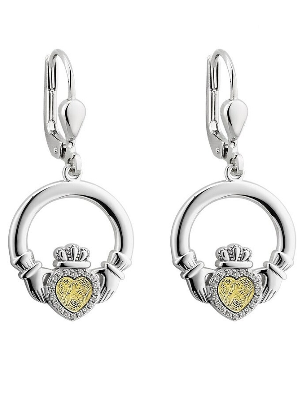 Claddagh Gold Sterling Silver Circle Tree of Life Pendant Necklace and Leverback Earrings