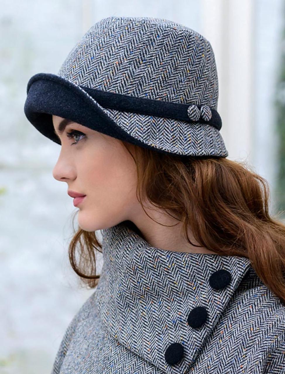 Ladies Tweed Clodagh Cap - Grey  f3a8af80855