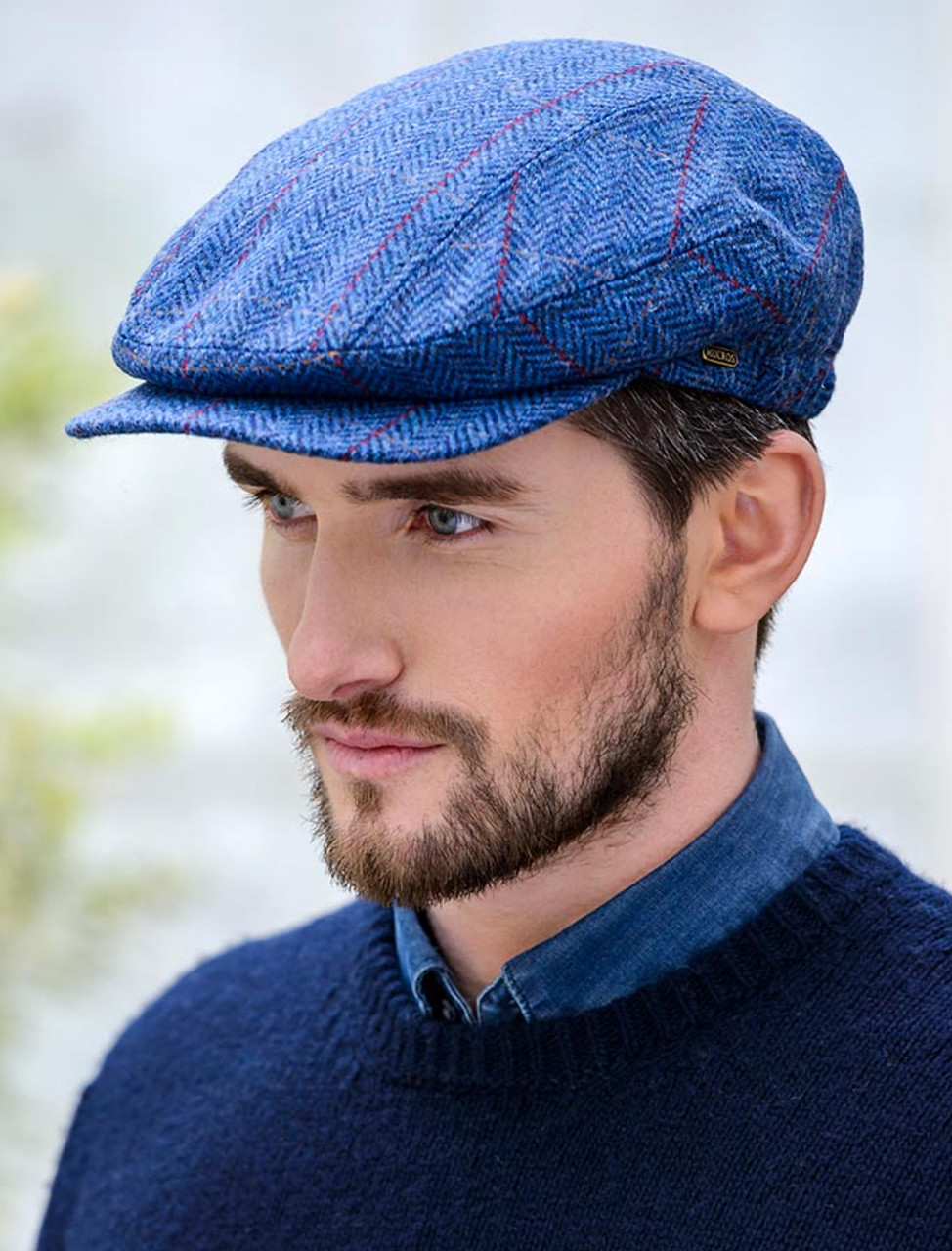 e8fb3931e Kerry Tweed Flat Cap - Blue with Red