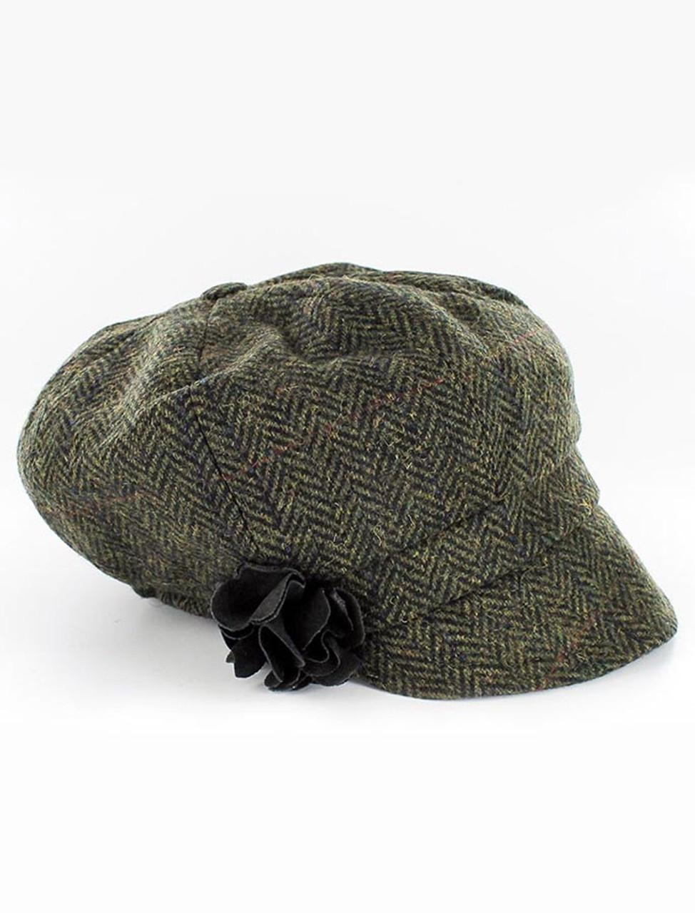 a6cc4ae2a1427f Ladies Tweed Newsboy Hat - Dark Green | Mucros Weavers