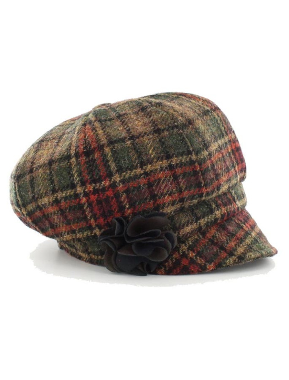 7bb16b306 Ladies Tweed Newsboy Hat - Green Rust Plaid